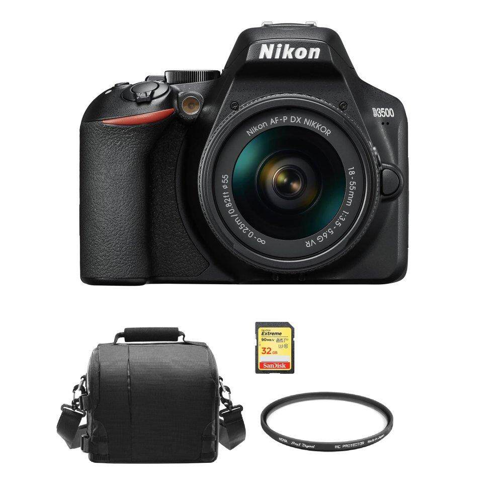 NIKON D3500 KIT AF-P 18-55mm F3.5-5.6G VR + 32GB + Camera Bag + HOYA 55mm PRO 1D Protector