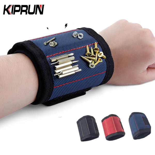[Ready Stock] KIPRUN Magnetic Wristband Portable Tool Bag with 3 Powerful Magnet Electrician Wrist Tool Belt Screws Nails Drill Bits Bracelet for for Fixing Screws / Nails / Bolts / Drills