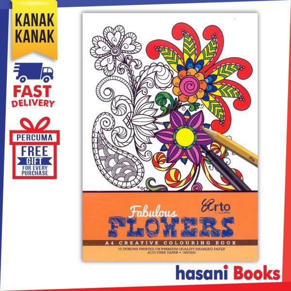 HASANI CAMPAP FABULOUS FLOWER A4 CREATIVE COLOURING PAD 9556233363098 Malaysia