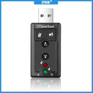 Thẻ Âm Thanh Ngoài USB 2.0 JTKE, Bộ Chuyển Đổi Âm Thanh 3D 7.1 Kênh Âm Thanh Vòm D Có Thẻ Âm Thanh Điều Khiển Bằng Nút thumbnail