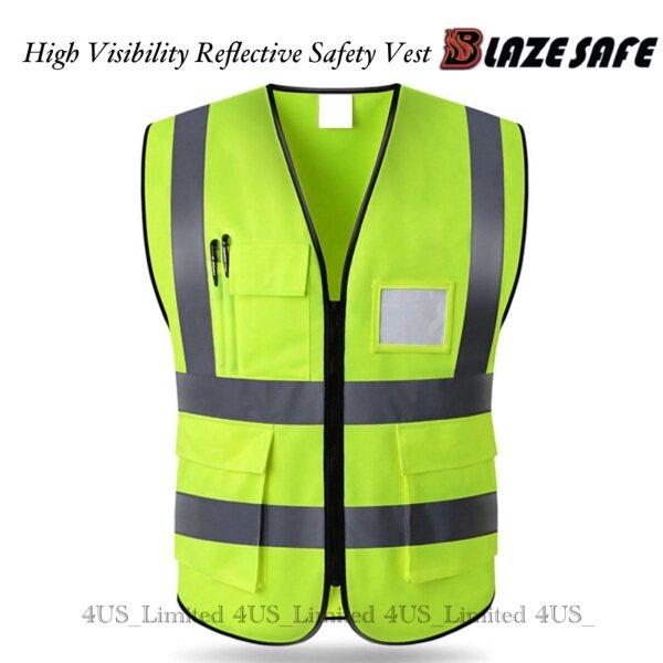 Blazesafe High Visibility Reflective Safety Vest Multi-pockets