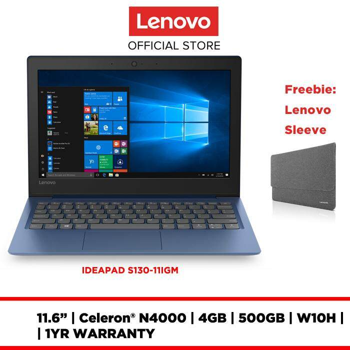 LENOVO LAPTOP NOTEBOOK IDEAPAD S130-11IGM 81J10017MJ 11.6 INCH HDTNAG N4000 4GB 500GB INTEGRATED W10 HOME 1Yr Preonsite FREE ULTRA SLIM SLEEVE Malaysia