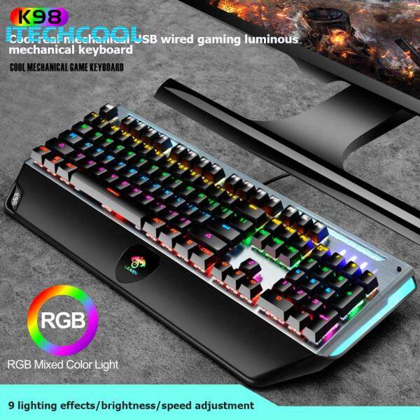 K98 Professional USB Wired 104 Keys Blue Switch RGB Backlight Mechanical Keyboard for Game PC Singapore