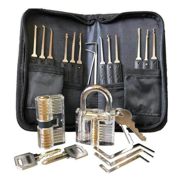 PER Advanced Lock Picking Set Transparent Practice Lock 25 Piece Lock Selection Set Perfect Locksmith for Beginners Professionals