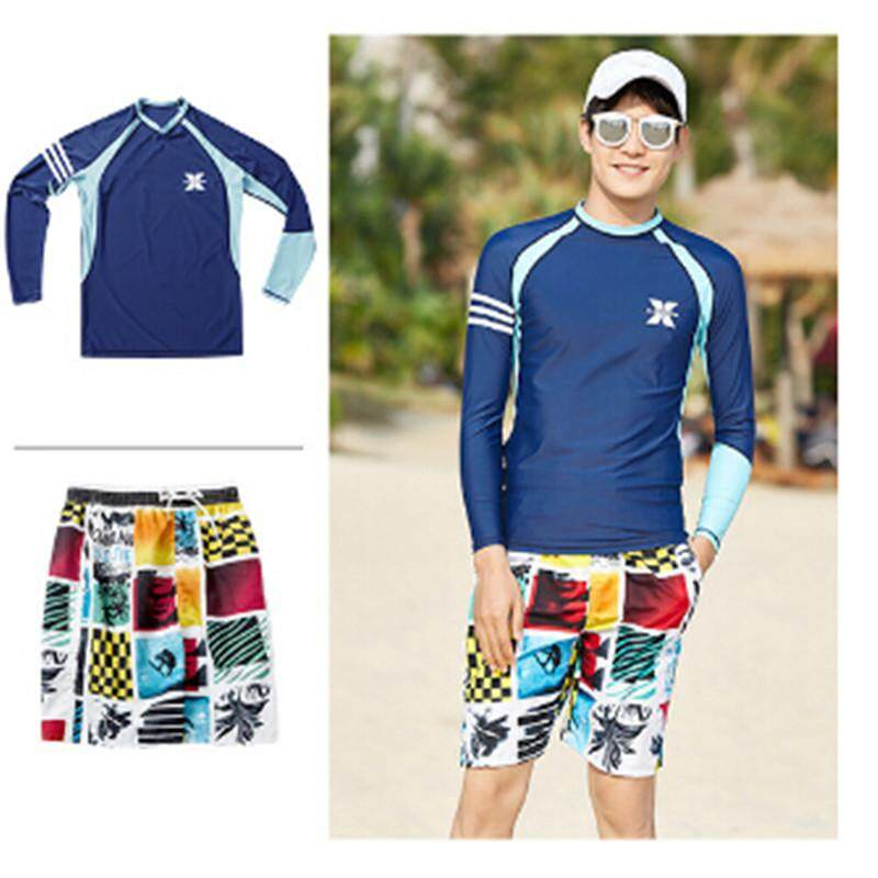 2b7460a7a3780 Luoke 2pcs Dark Blue Long Sleeved Shorts Swimming Suit Split Quick-drying  Beach Snorkeling Suit