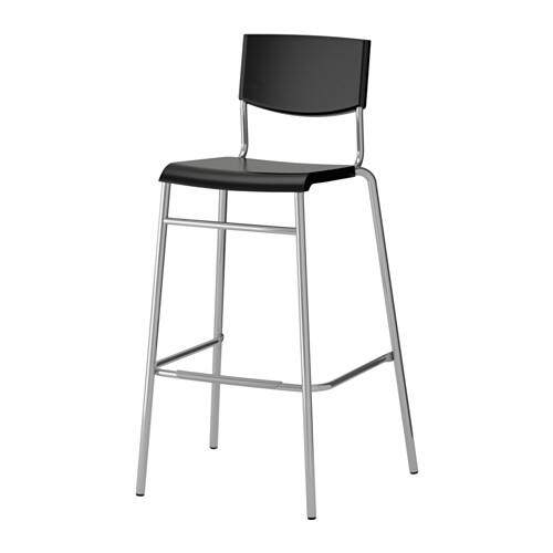Swedish Design Modern Bar Stool / Chair With Back Rest ( Barstool) Stig - 74 / 63 Cm Seat Height , Black / Silver By Home Planner.