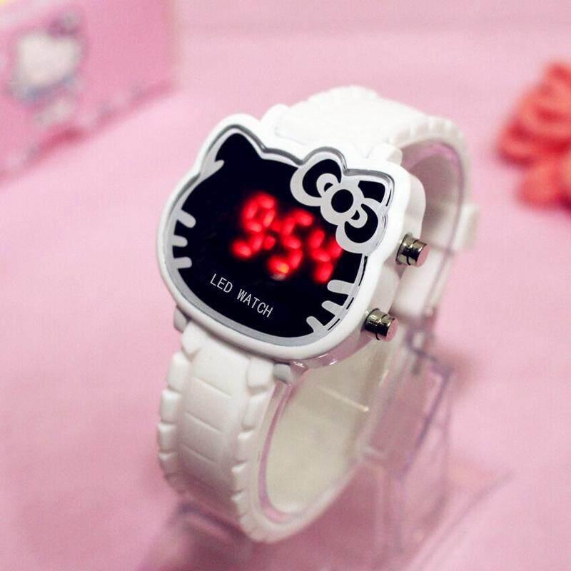 Đồng Hồ Trẻ Em Thời Trang Hello Kitty Đồng Hồ Nữ Kỹ Thuật Số LED Vòng Tay Nữ Dây Đeo Silica Hoạt Hình Dễ Thương Quà Tặng Vòng Tay Thạch Anh Chống Nước Cho Trẻ Em
