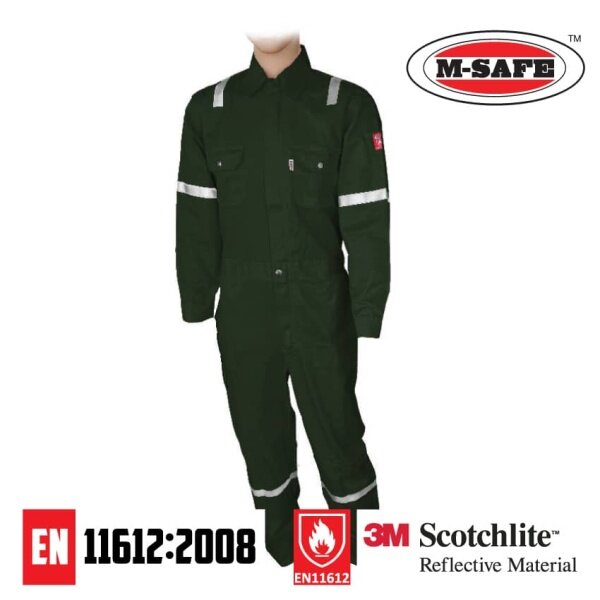 M-Safe 100% Cotton Fire Retardant Coverall with 3M Scotchlite Reflector [Dark Green]  (1 Pair)