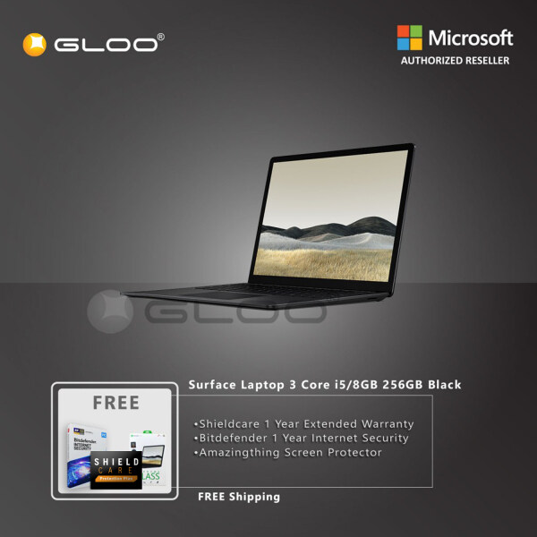 Microsoft Surface Laptop 3 13 Core i5/8GB RAM - 256GB Black - V4C-00037 + Shieldcare 1 Year Extended Warranty + Bitdefender 1 Year Internet Security + Amazingthing Screen Protector Malaysia