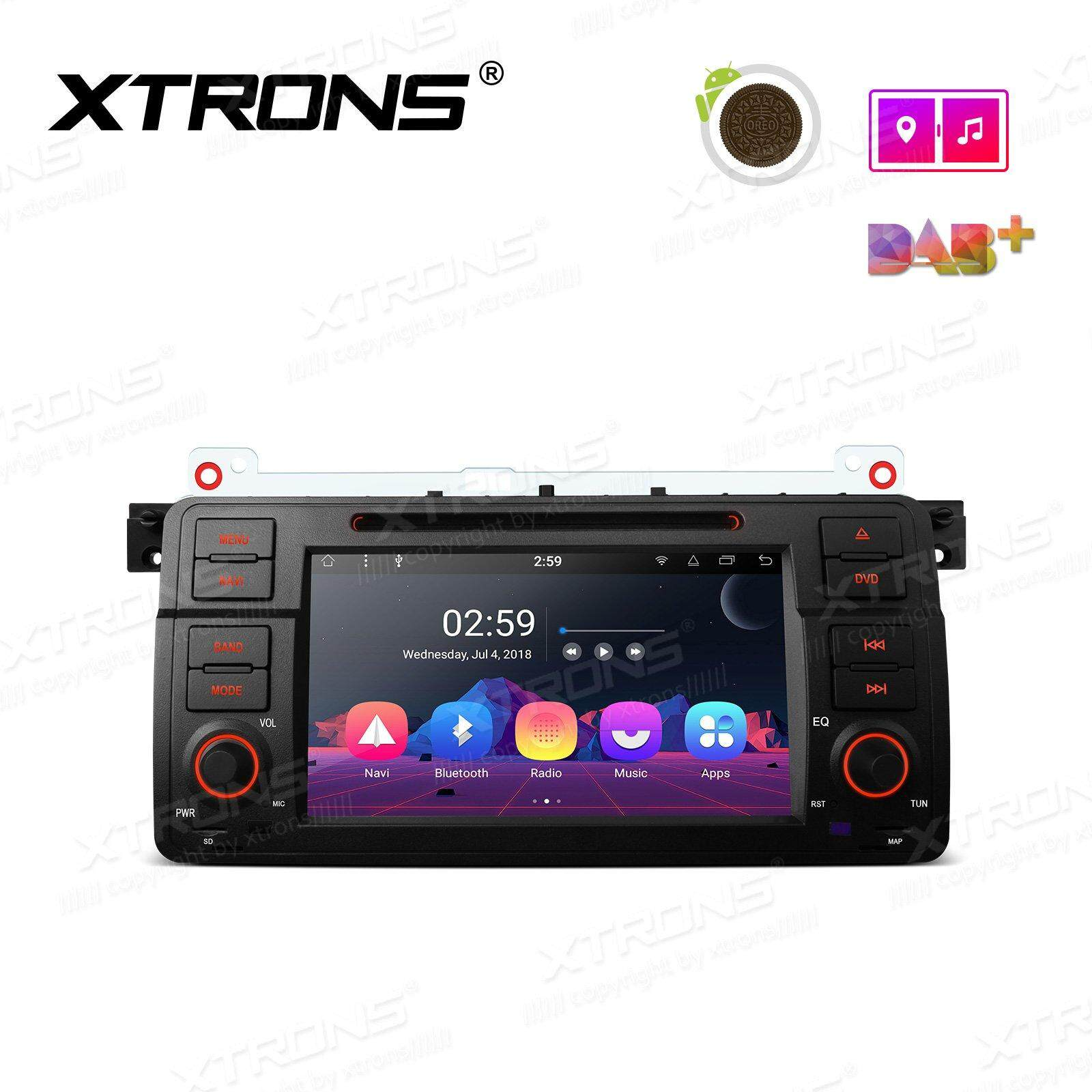 "XTRONS 7"" Android 8.1 Octa Core Car Stereo Radio DVD Player Single Din Head Unit GPS Navigator Bluetooth 5.0 DAB 4G OBD USB SD Port for BMW E46"