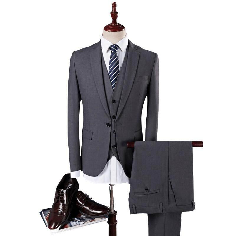 83dacd9e6f1 Men s Business Casual Suits Sets Men Three-piece Suits Male Vest+Blazers +pants