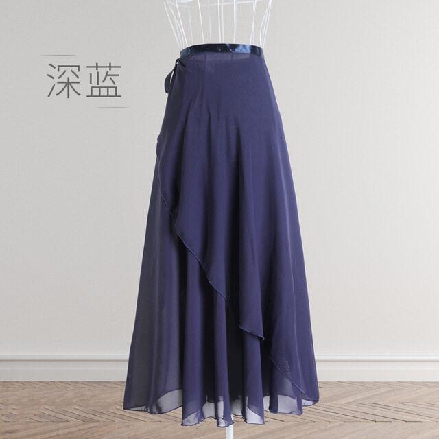 adult dancewear R16DB dark blue chiffon long wrap skirt blue ballet skirt dance apparel Ballet rehearsal skirt high low navy