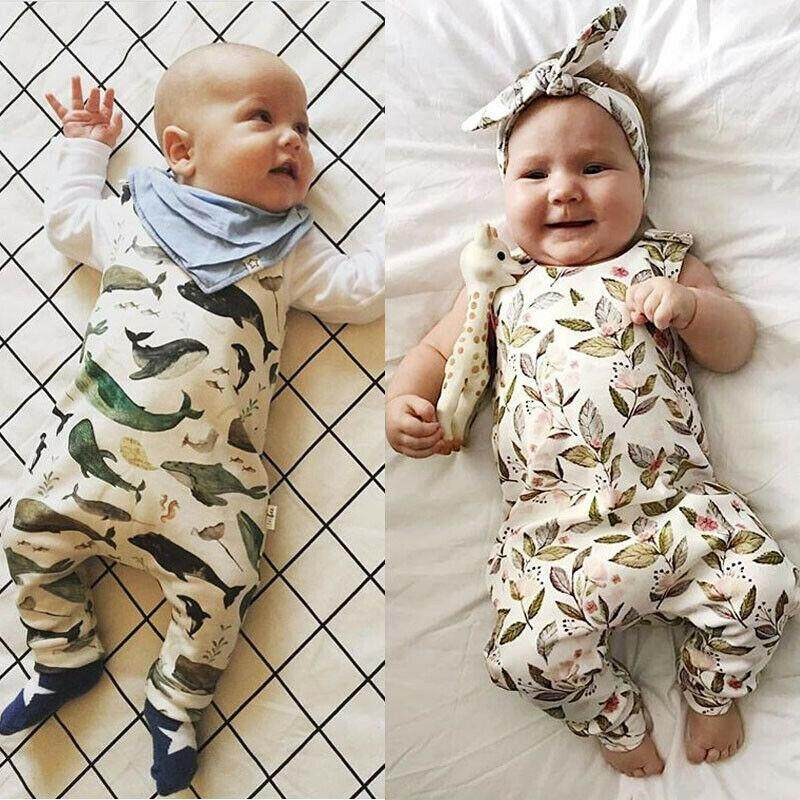 Baby Girl Boy Lovely Cartoon Animal Romper Jumpsuit Outfits Clothes Bodysuit