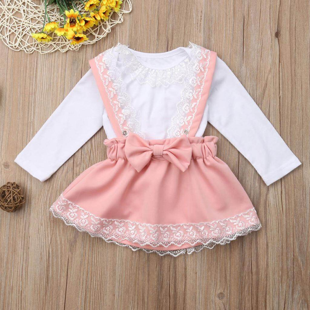 77827123640 Newborn Kid Baby Girl Lace Romper Tops Bow Princess Party Skirt Dress  Outfit Set