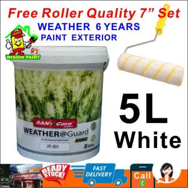 5L ( 1001 WHITE ) SANCORA WEATHER GUARD FOR EXTERIOR WALL FINISH 6 YEARS ( FREE 7  ROLLER 1 SET )