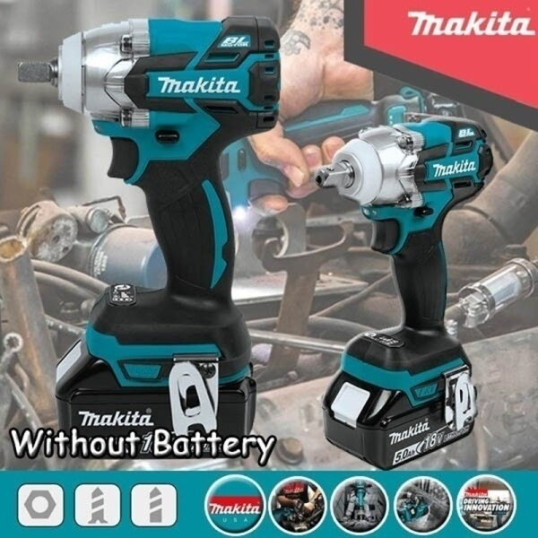 18V Impact Wrench Brushless Cordless Electric Wrench Power Tool 520N.m Torque Rechargeable for Makita Battery