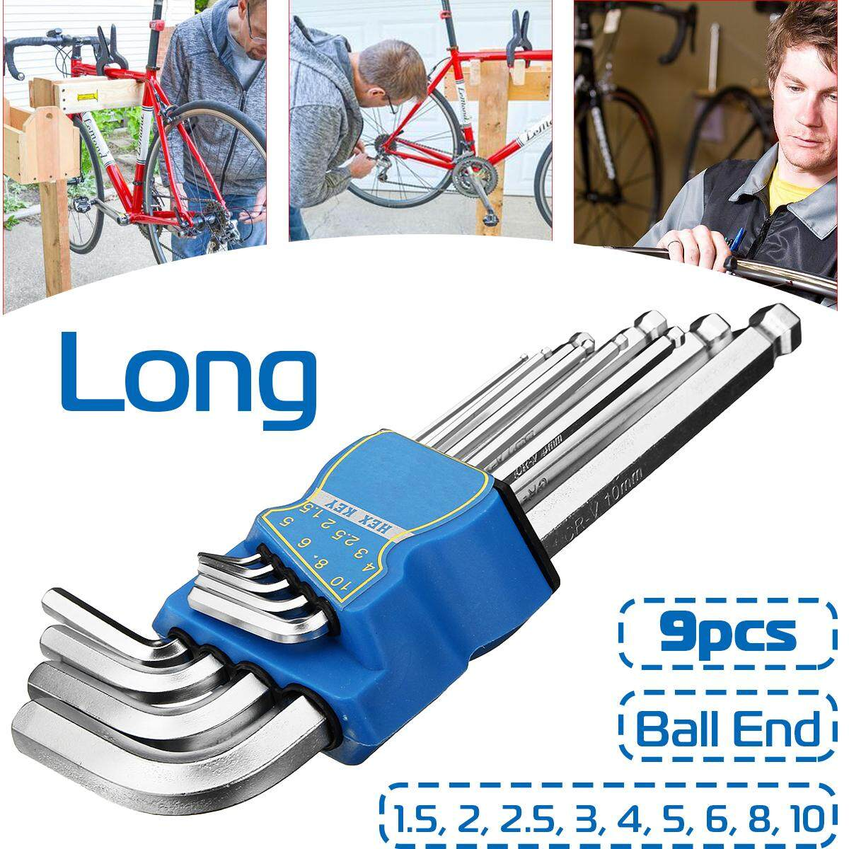 9pcs L Wrench Ball End Long Arm Hex Key Allen Wrench Set Powerful Repair Tool