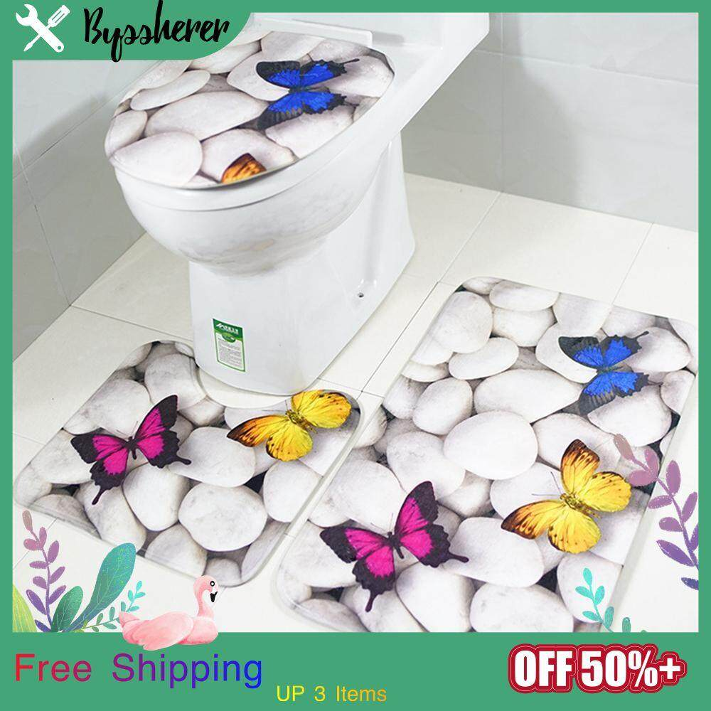 Byssherer 3 Sets Of White Cobblestone Color Butterfly Pattern Easy To Wash Dustproof Non-Slip Family Bathroom U-Shaped Square Toilet Seat Carpet