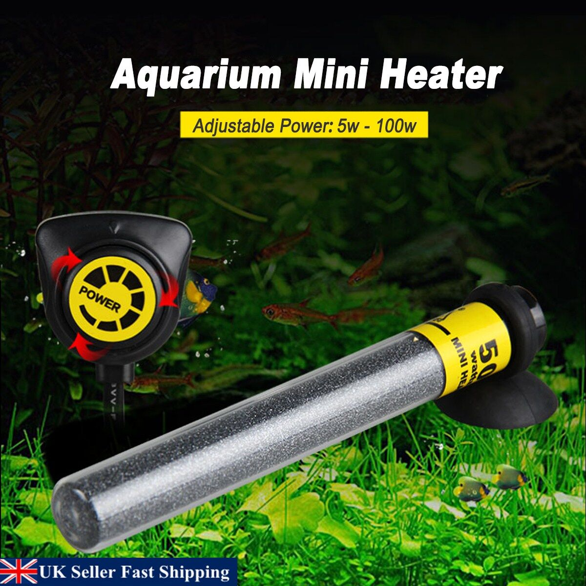 Mini Aquarium Water Submersible Heater Automatic Adjustable Thermostat 20-100W