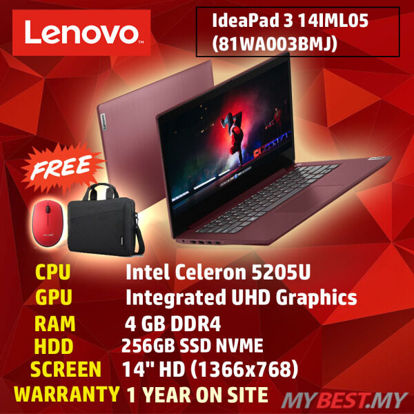 Lenovo Ideapad 3 14IML05 81WA003BMJ 14 Laptop Cherry Red ( Celeron 5205U, 4GB, 256GB SSD, Intel, W10 ) Malaysia