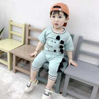 เด็กชายฤดูร้อนการ์ตูนไดโนเสาร์รูปแบบการพิมพ์ท็อปส์เสื้อเสื้อยืดคอกลมกางเกงขาสั้นลำลองชุดแขนสั้นชุด
