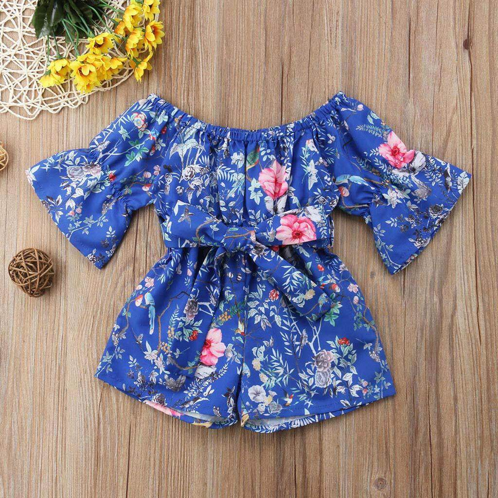 0825a1afee2 Infant Toddler Baby Girls Off Shoulder Floral Print Bow Romper Jumpsuit  Outfits