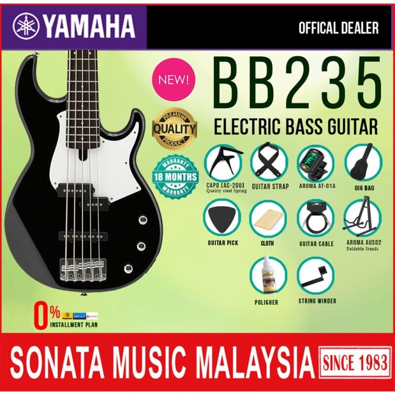 Yamaha BB235 BL 5 String Alder SS Pickup Electric Bass Guitar Black (BB 235) Malaysia