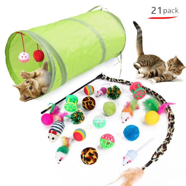 BAIKUAN 21 Cái Đồ ChơI Mèo Đồ ChơI Mèo Con Assortments Bộ Đồ Chơi Catnip Nhiều Màu Sắc Và Chuông Cho Mèo