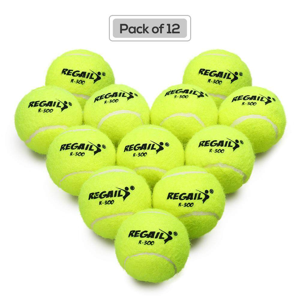 Pack Of 12 Pressureless Tennis Balls With Mesh Bag Rubber Bounce Training Practice Tennis Balls Pet Toy By Tomtop.