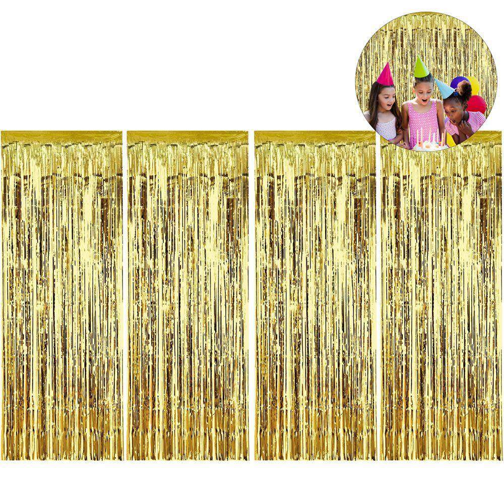 OrzBuy 4pcs foil curtain backdrop fringe curtains backdrop metallic glitter tinsel for birthday,wedding,Christmas,Halloween party decorations, baby showers or graduation ceremonies.