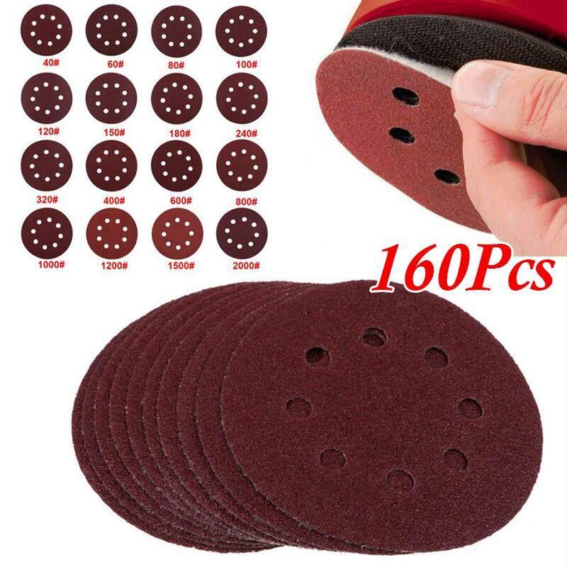 160 Pcs/Set Sandpaper 5 Inches Sanding Disc 40-2000 Grits Convenient Grinding