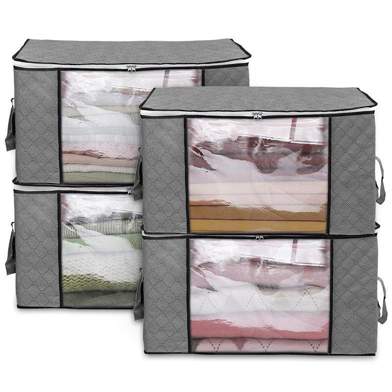 4Pack Storage Bags Clothes Organizer Containers with Strengthen Handle, Anti-Mold Fabric Under-Bed Storage Bags for Comforters, Blankets, Bedding with Sturdy Zipper, Clear Window