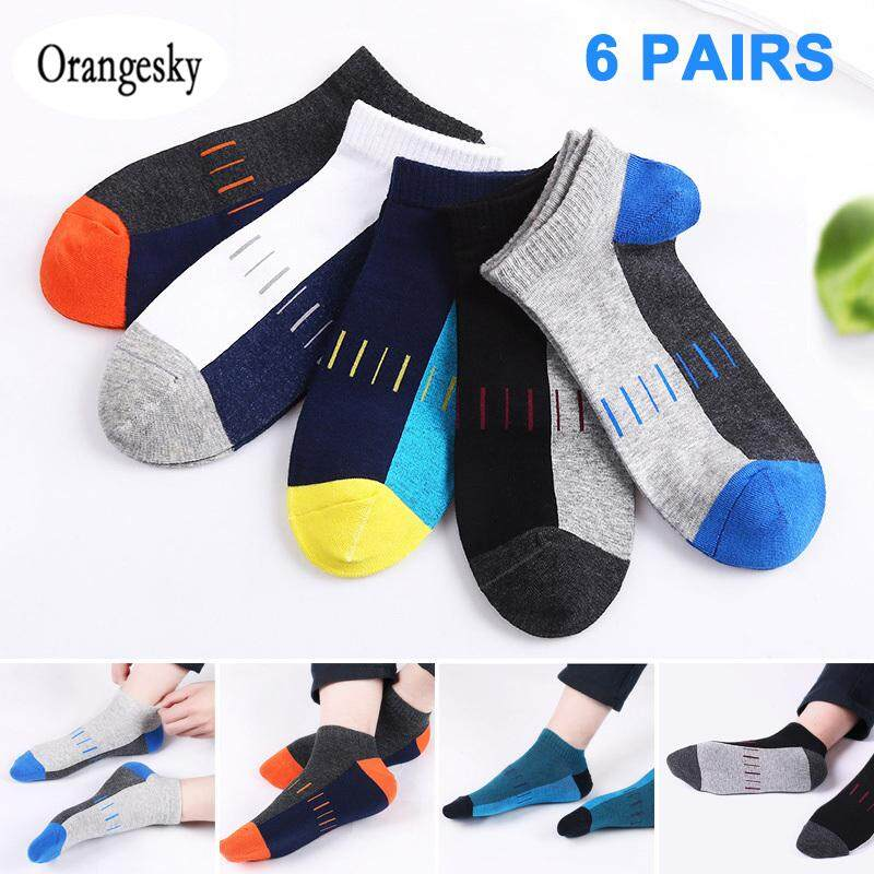 b08b9bbf56b16 Orangesky 6Pair Men Invisible Socks Cotton Breathable Sweat-absorbent Low Sport  Socks for Summer