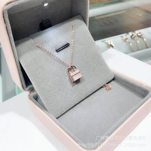 Asia emas mini tas rantai berlian penuh klavikula zirkon mikro-inlay rose gold emas putih kecil dan sederhana