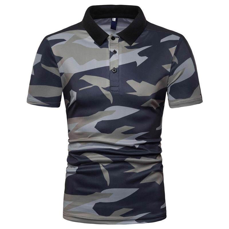 8d1c26575 Camouflage Men Polo Shirt Short-sleeved Summer Tops Tees Lapel Collar POLO  shirt Men Casual