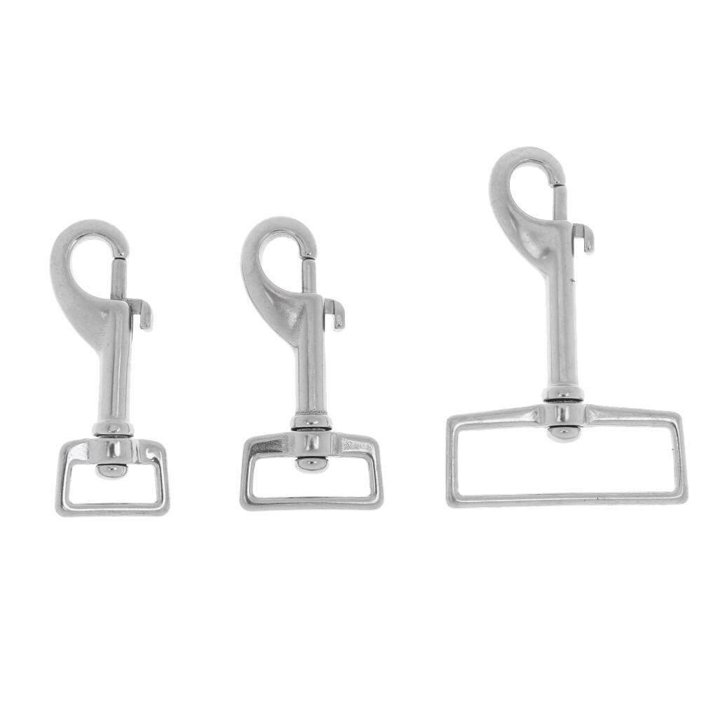 """1//1.3//2.3/"""" Square Swivel Eye Snap 316 Stainless Steel Marine Hook Dive Clip"""