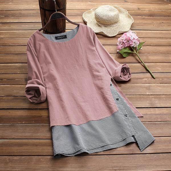615cf6251c49 Gracila Women Vintage Round Neck Long Sleeve Tops Shirt Ladies Baggy  Irregular Blouse