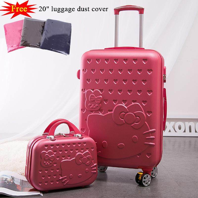 2PCS 20inch luggage & suitcase set,luggage &cosmetic case set,thickening shatter-resistant waterroof luggage, ABS+PC  mute caster luggage trolley case boarding luggage suitcase,Women Child bag gift ,lovely cartoon trip case
