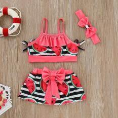 Lazadacarell Trẻ Em Bé Gái Bikini Đi Biển Suspender Áo + Váy + Tặng Mũ Trùm Đầu Bộ Đồ Bơi