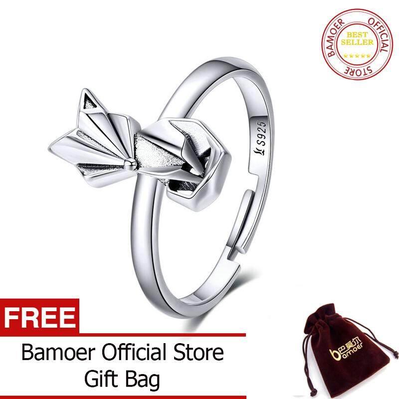 BAMOER MẠ Floding Cáo Ngón Tay cho Nữ, Nhẫn Nữ Bán Hàng Chính Hãng Nữ Bạc 925 Động Vật Ban Nhạc Nhẫn cho Đảng Bộ Trang Sức Nữ SCR560