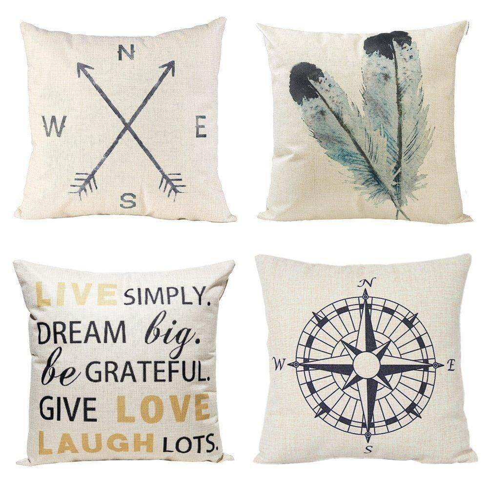 Decorative Throw Pillow Covers Set Of 4 Cotton Linen Cushion Covers 18 X 18 Inch Feather By Greatbuy888.