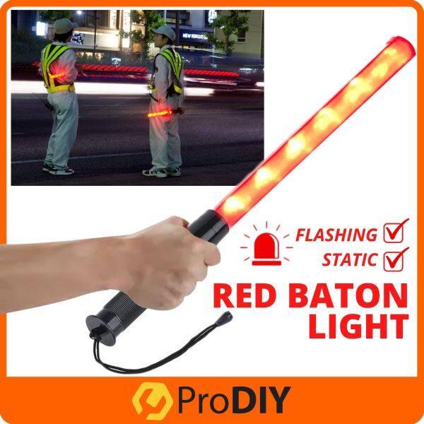 READY STOCK Traffic Rescue Signal Road Control Warning Two Flashing Mode Light LED Safety Stick Red Signal Jalan Raya