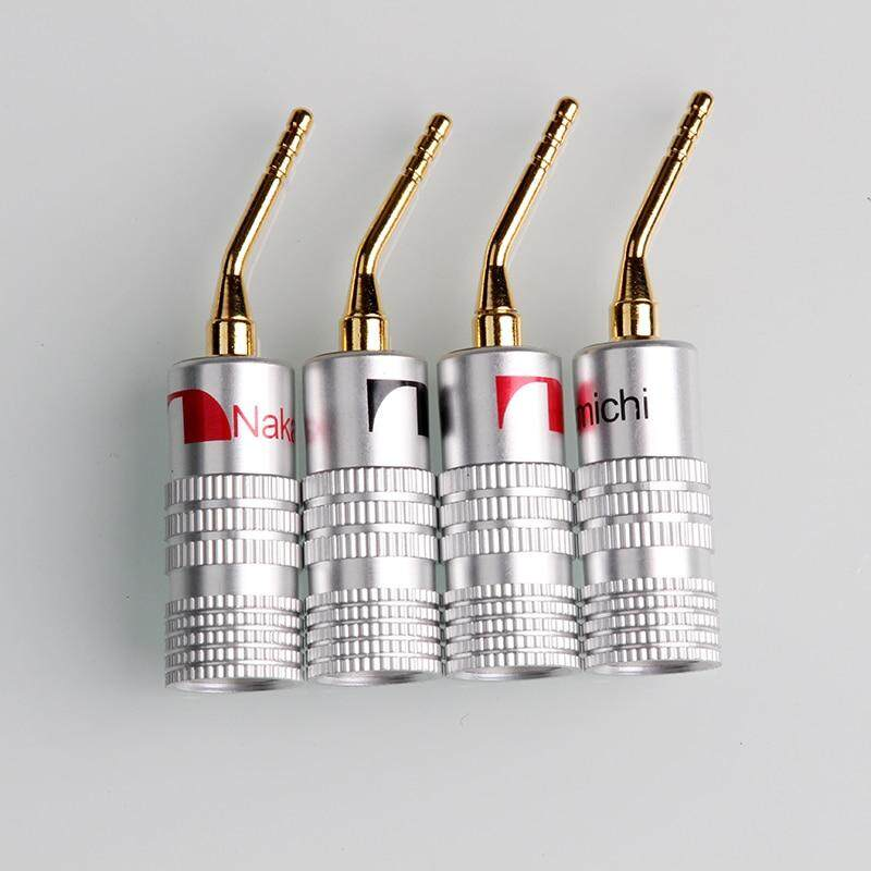 2mm Banana Plug 4/8Pcs Nakamichi Gold Plated Speaker Cable Pin Angel Wire Screws Lock Connector For Musical HiFi Audio