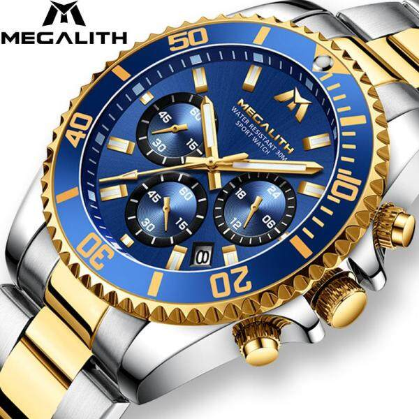 MEGALITH Luxury Mens Watches Sports Chronograph Waterproof Analog 24 Hour Date Quartz Watch Men Full Steel Wrist Watches Malaysia