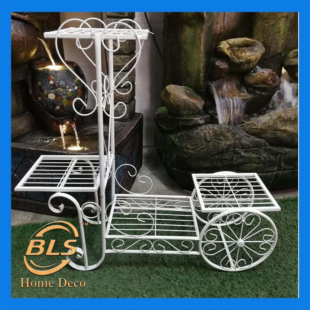 HEIGHT 70CM WHITE COLOR 4 LAYER EUROPEAN STYLE FLOWER RACK IRON STAND WITH WHEELS YA2004