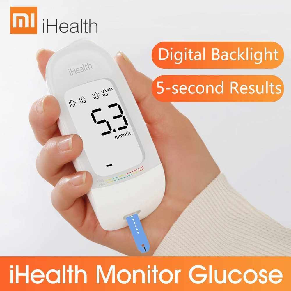 Xiaomi Mijia iHealth Monitor Glucose Test Meter Kit Diabetic Sugar Detection Lancets Blood Collecting Needles LCD Backlight with 100PCS Test Strips (Standard)