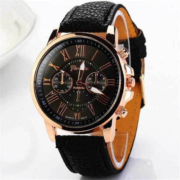 Stylish Women Quartz Watches PU Leather Casual Wristwatch for Ladies Lady Watches Elegance Wristwatches (Black) Malaysia