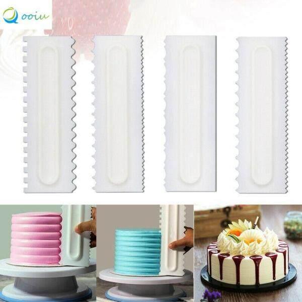 Qooiu 4Pcs Cake Decoration Plastic Comb Dessert Cream Scraper Pastry Decoration Tool Portable Multi-Texture Dessert Chef Accessories