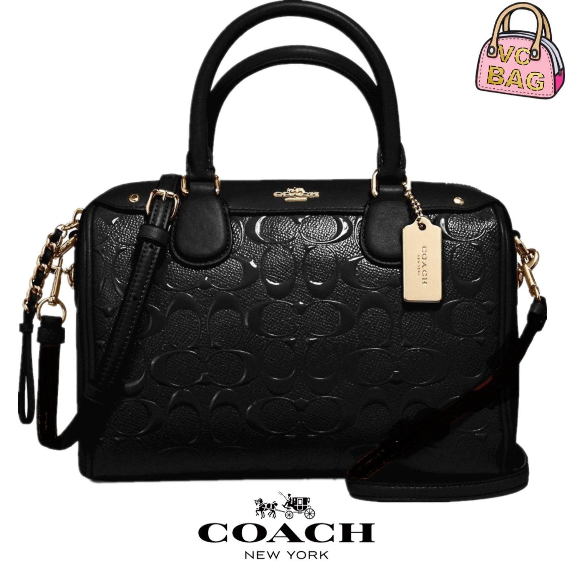 2a71482a8f2 COACH F11920 Mini Bennet Satchel in Signature Debossed Patent Leather Bag [Light  Gold/Black