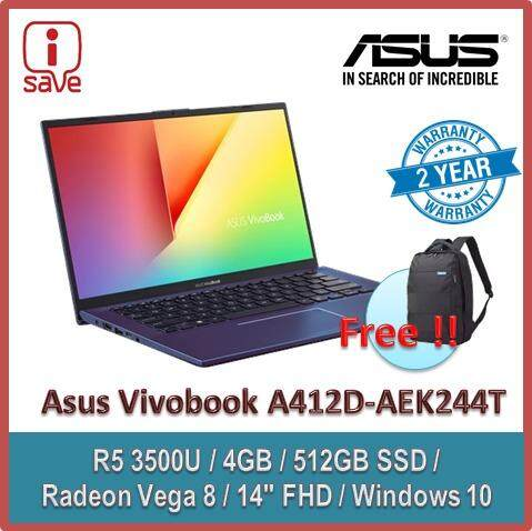 ASUS Laptop VIVOBOOK A412D-AEK244T 14 FHD Peacock Blue (Quad Core R5-3500U, 4GB, 512GB SSD, Radeon Vega 8, W10) FREE ASUS BACKPACK Malaysia